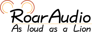 Logo: RoarAudio, As loud as a Lion